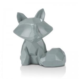 Décoration géométrique design renard en céramique bleu canard - Foxy