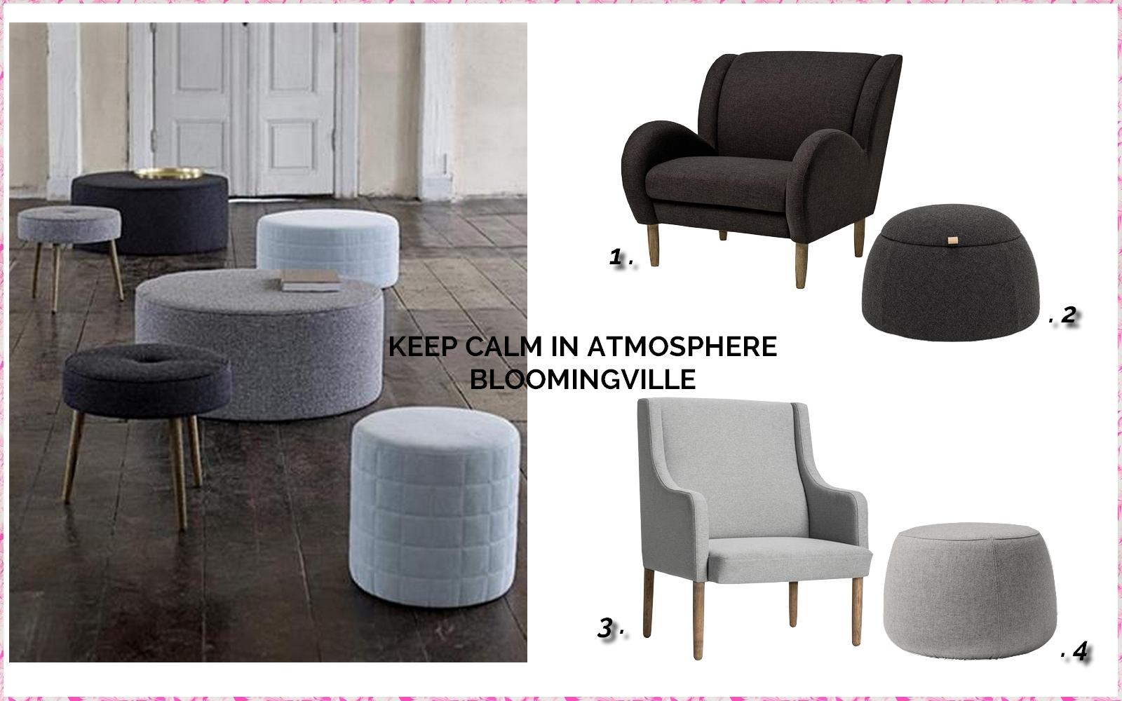 fauteuil bloomingville, pouf bloomingville, fauteuil scandinave, fauteuil gris, fauteuil en tissu, pouf gris, pouf en tissu, pouf scandinave