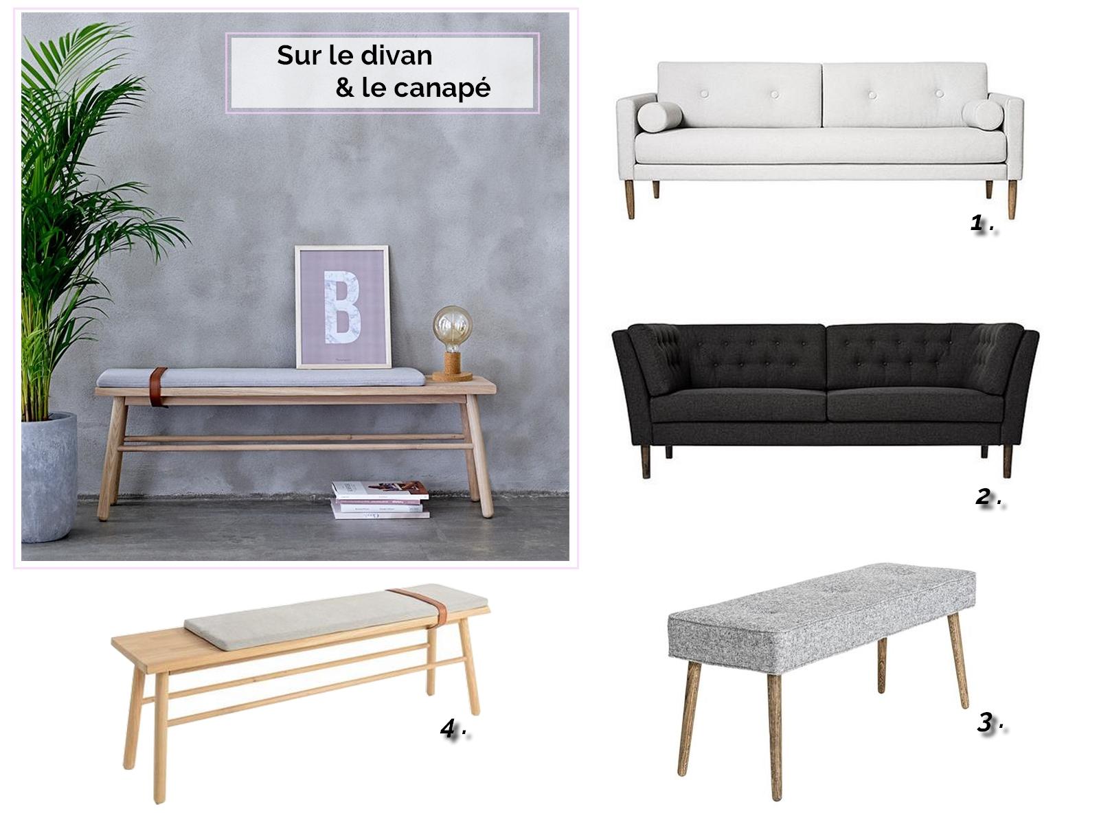 canapé design, canapé tissu, canapé gris, banc en bois, banc design, banc scandinave, canapé design