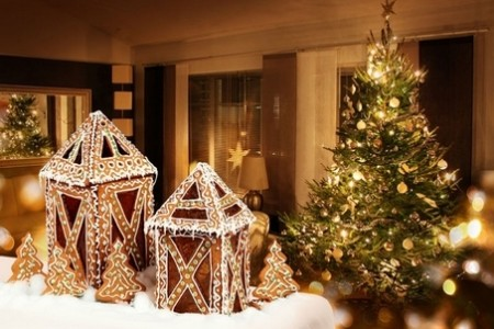 30745420 - gingerbread cookies cottages christmas tree room background