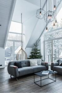 salon scandinave canapé gris