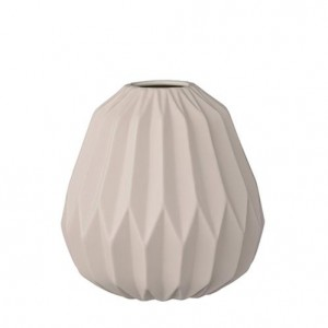 petite vase géométrique rose pastel bloomingville - fluted