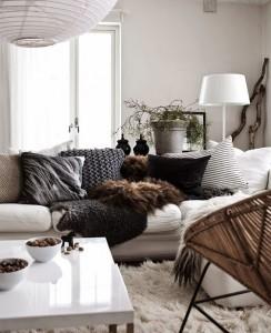 plaid, coussins, scandinave, blanc, fourrure, hygge, art de vivre, déco