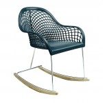 Rocking chair design en cuir bleu MIDJ - Gino